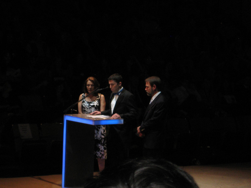 Casey's friend and Springfield High School Theater Director, John Gildea announcing the award with Casey's parents, Dianne Anderson and Joel Feldman.