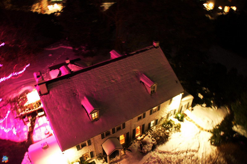 Aerial view from the cherry picker. The house was aglow in pink from the tree lights. My sister, Susan, thought that we had pink spotlights on the house!