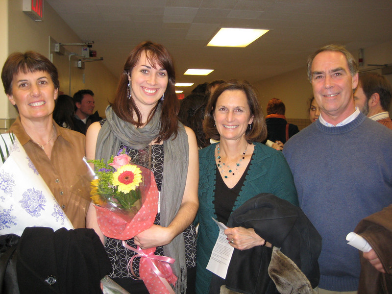 Christina after the performance with her parents and aunt.