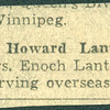 """Newspaper clipping: """"Rifleman Howard Lantz, son of Mr. and Mrs. Enoch Lantz, 119 Peter St., is serving overseas."""
