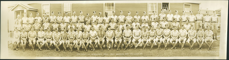 Panoramic photo: A22 Canadian Army Medical Corps Training Centre - Seregeants Mess - Camp Borden, Ont. - 22 June 44. Lloyd Lantz is 7th from left in back row.