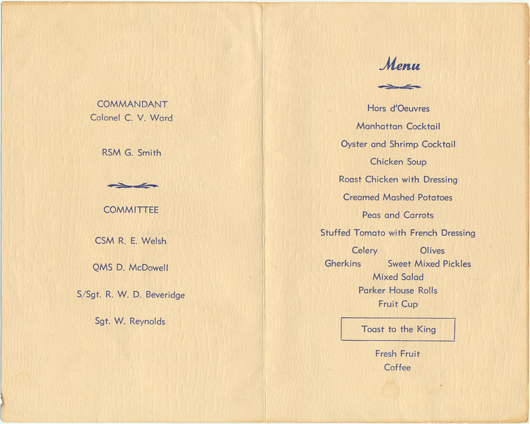 Program for mess dinner. Sergeants' Mess A-22 Canadian Army Medical Corps Training Corp Tuesday, September 26, 1944 1915 hours. Autographs on back. Committee and menu inside.