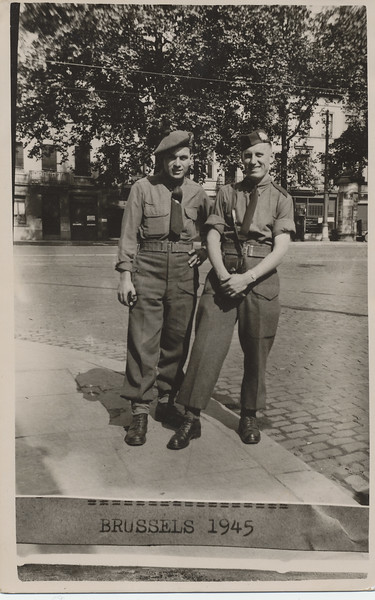 Howard Lantz (at right) and another solder in uniform in Brussels September 1945