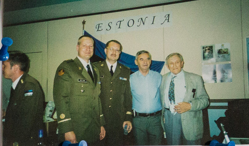 Photographs used for celebration of Elmar's life. Elmar (at right) was a WWII veteran.