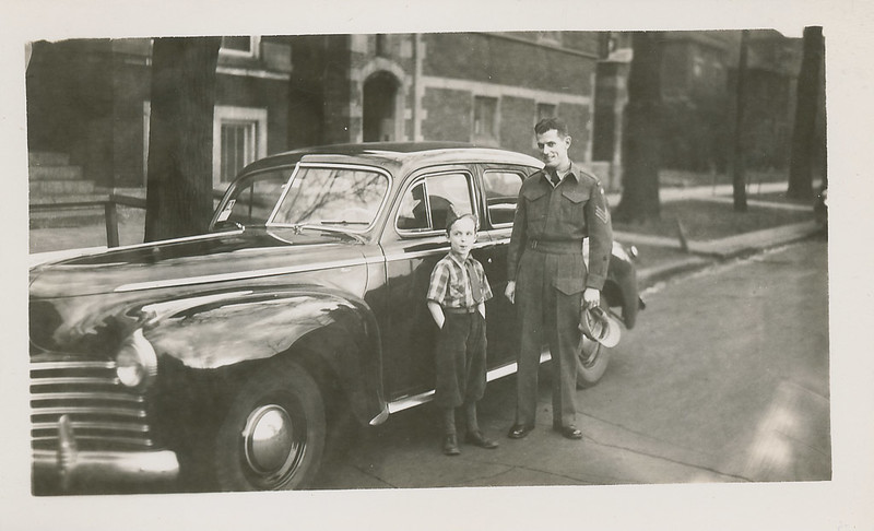Bill Domm with Llloyd Lantz. Lloyd in army uniform, likely end part of World War II to early 1946. Digital file provided by Bill Domm.