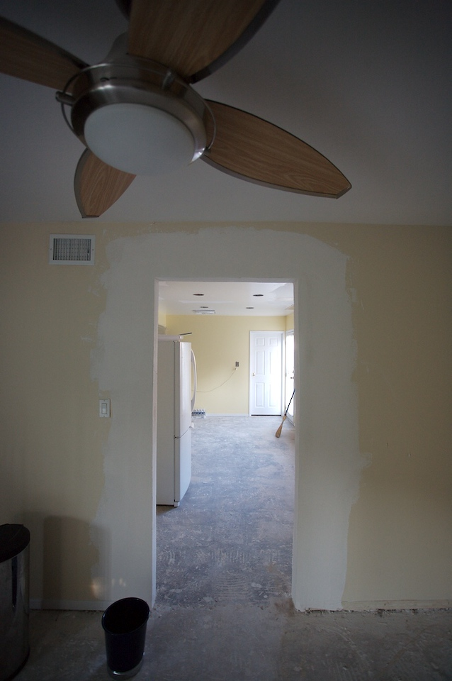 """New doorway roughly formed (6"""" winder than before)"""