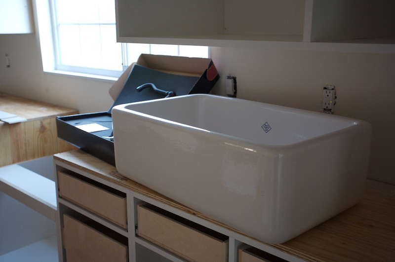 """This is our farmhouse """"apron"""" style sink."""