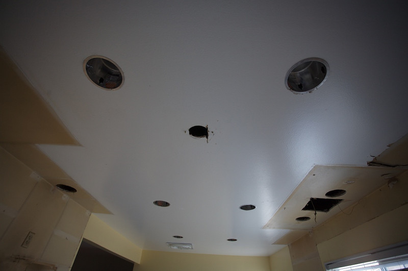 Total of 8 recessed lights. 6 in the main kitchen area, and two over the sink.<br /> <br /> We will have a fixture over the breakfast table.