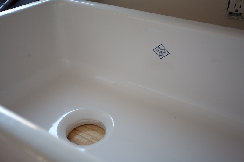 "Sink detail. By ""Shaw's""<br /> Handmade in England and fired in an oven."
