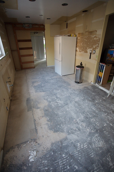 Floor removed in the kitchen.