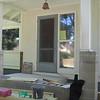 Concrete blocks were cut away to open up front door area.