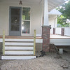 White paint on back riser portion of front steps