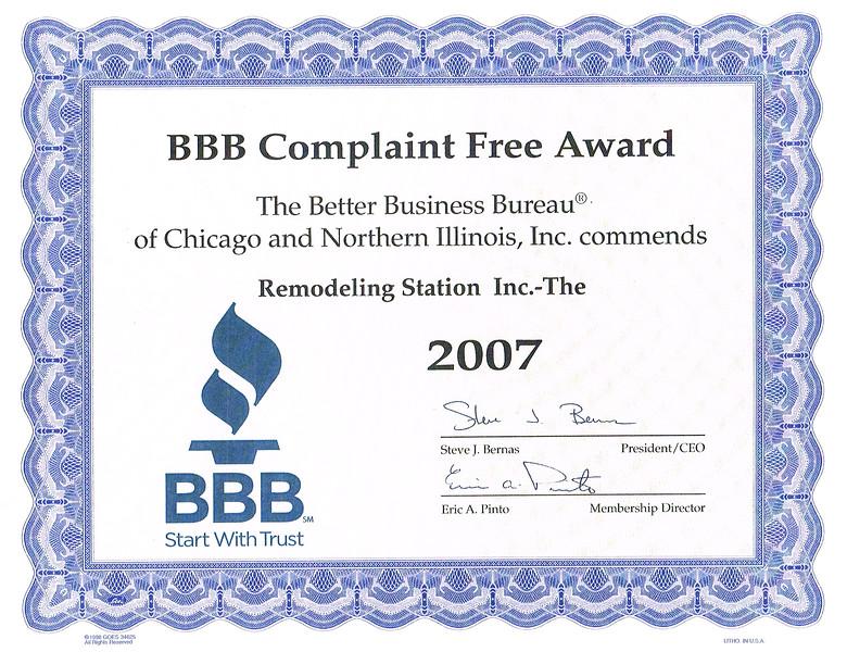 BBB Complaint Free 2007