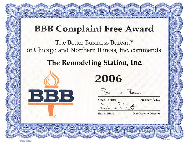 BBB Complaint Free 2006