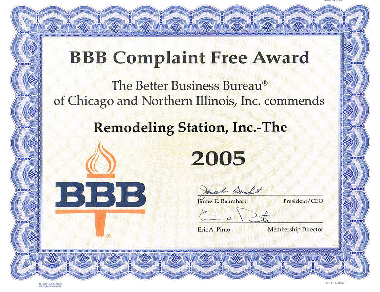 BBB Complaint Free 2005