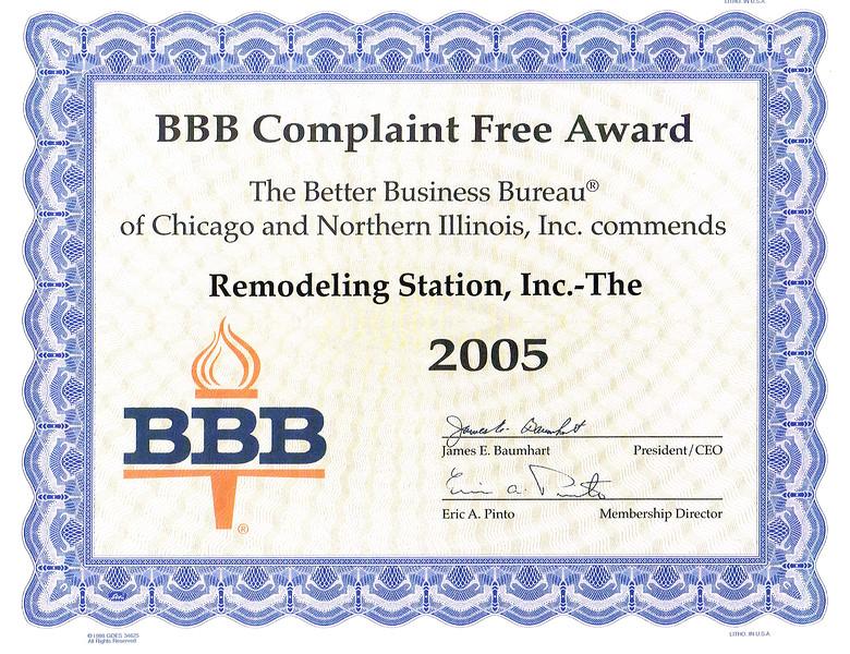 BBB Complaint Free 2005