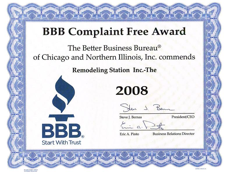 BBB Complaint Free 2008