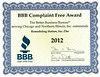 BBB Complaint Free 2012