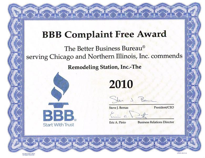 BBB Complaint Free 2010