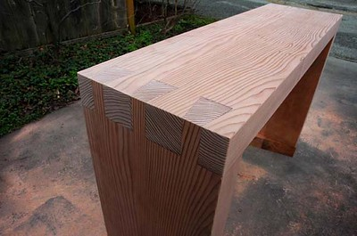 Wilson-Brito residence: dovetailed bench finished