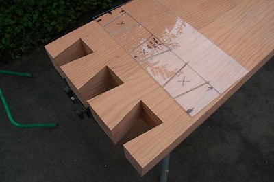 Wilson-Brito residence: dovetailed bench in progress