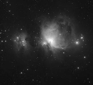 M42 Orion Nebula and NGC 1973/5/7 The Running Man Nebula- Monchrome