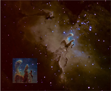 The Pillars of Creation w/ Hubble Inset Picture