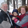 At Tahoe in the snow with Grandpa Tom and Mom