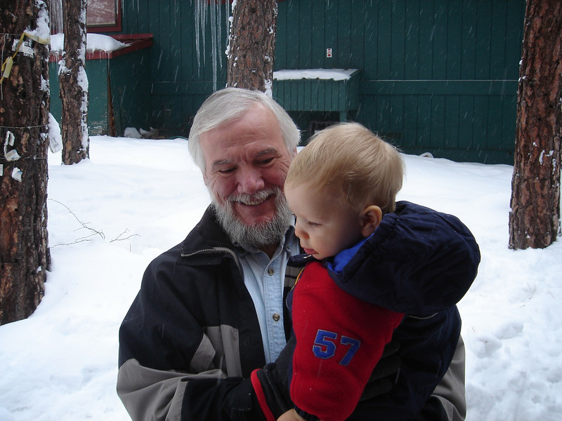 At Tahoe in the snow with Grandpa Tom