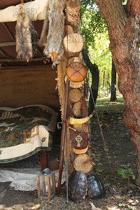 Canteen, long rifle, powder horn, possible bag, snapping turtle shells, candle lantern, at the Pioneer Days festival, in Fowler Park, near Terre Haute, IN.