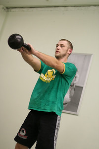 Brad working with the Kettlebell.