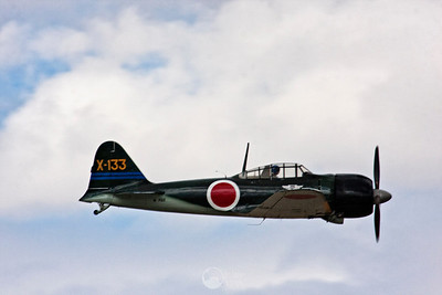 """N-712Z A6M3 Reisen aka """"Zero""""  One of only three known flying A6M airframes, this aircraft is currently outfitted with a Pratt & Whitney R1830 radial engine.  This A6M3 served in the Imperial Japanese Navy Air Group #3."""