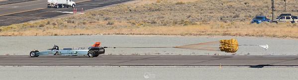 Smoke-n-Thunder JetCar Deploys Parachutes