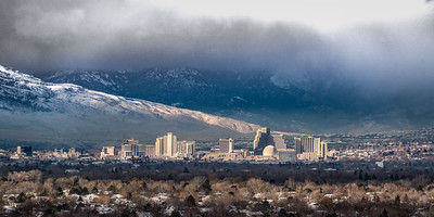Reno skyline foggy morning 2777