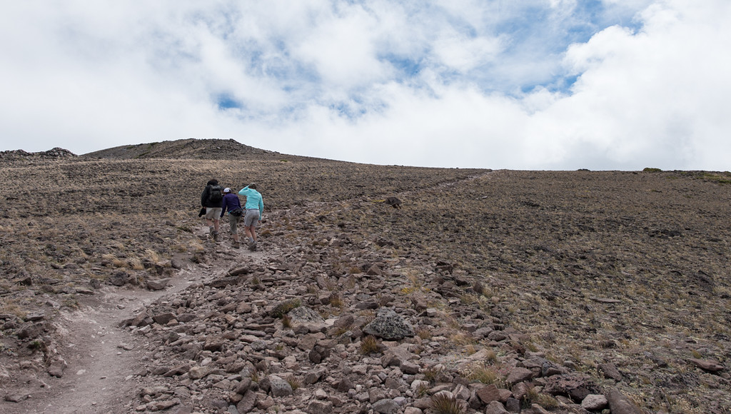 Lorenzo, Lisa and Sally climbing towards the summit. Only Lisa's hat was staying on securely at this point!