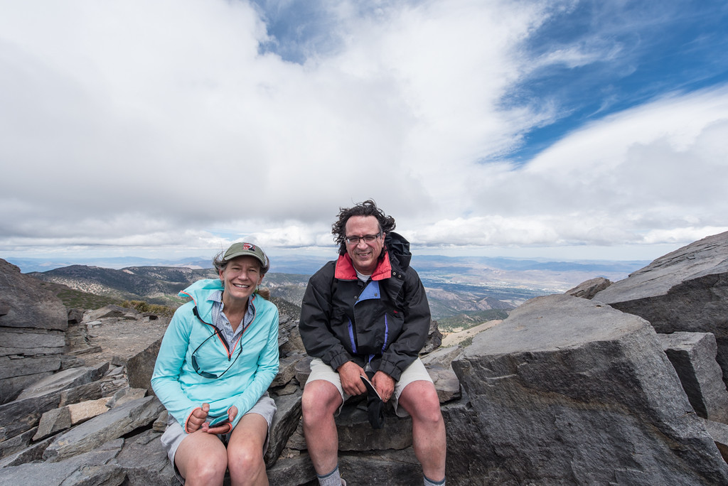 Sally and Lorenzo at the summit at 10,700 feet. Bad hair day with 70mph winds!