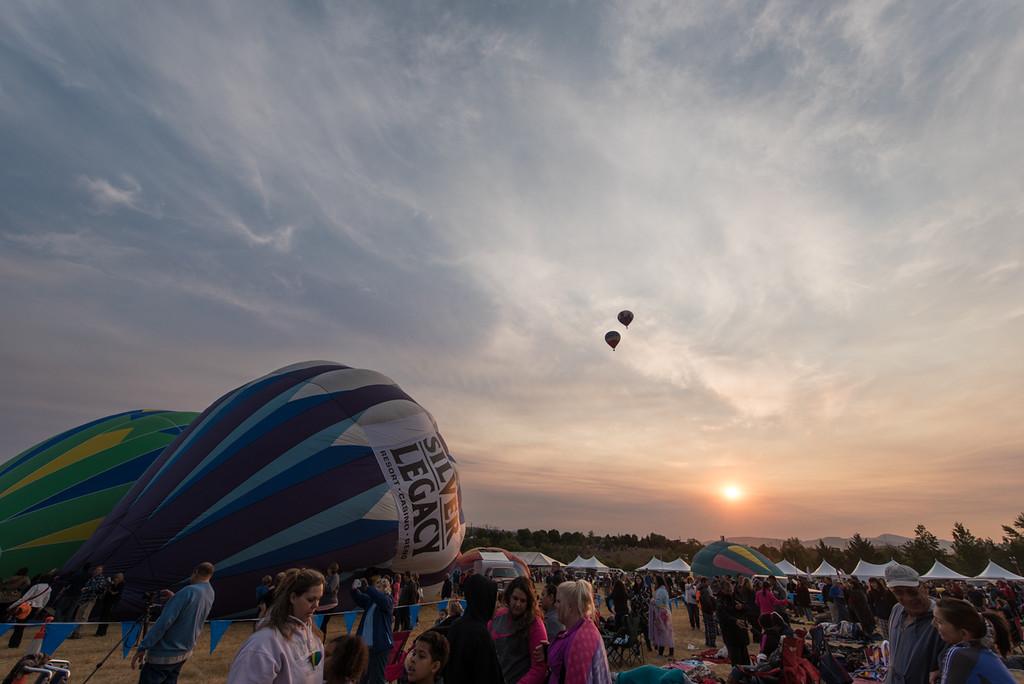Raising the balloons at sunrise...