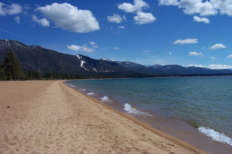 We had the beach all to ourselves.<br /> [Lake Tahoe]