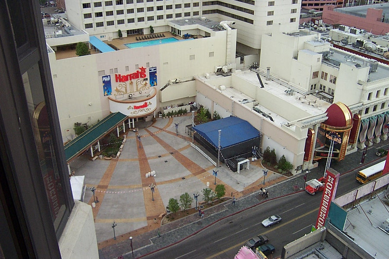 Looking down on Harrah's entry plaza, which is across Virginia Street.  That plaza was once the site of two favorite old casinos--Harold's Club and the Nevada Club.<br /> [Reno]