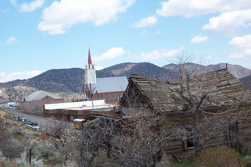 I like the look of this dilapidated shack--I wonder who lived there in the town's heyday?  We visited the Catholic church in the background on a different trip.  It's very pretty inside, and it also has a museum in the basement.<br /> [Virginia City, South of Reno]