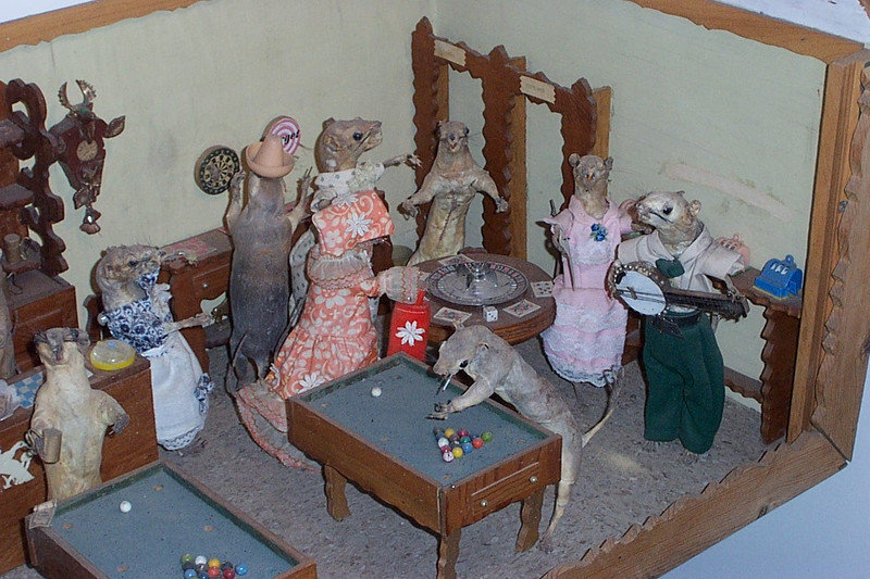 The weasels may be dead and stuffed, but they seem to be having fun!  :-)<br /> [Virginia City, South of Reno]