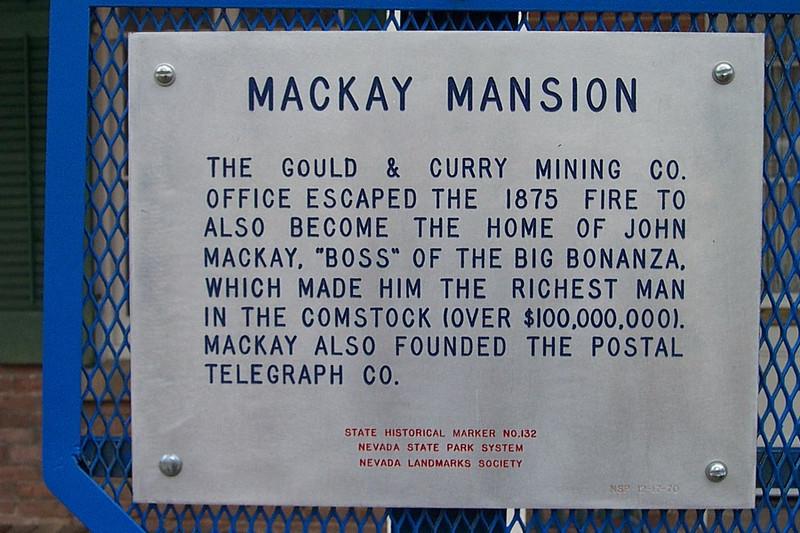 Historical marker at the Mackay Mansion.<br /> [Virginia City, South of Reno]