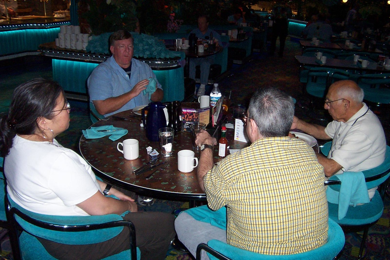 Kay, Mark, Dave and Lou at the Peppermill's Island Buffet.<br /> [Reno]