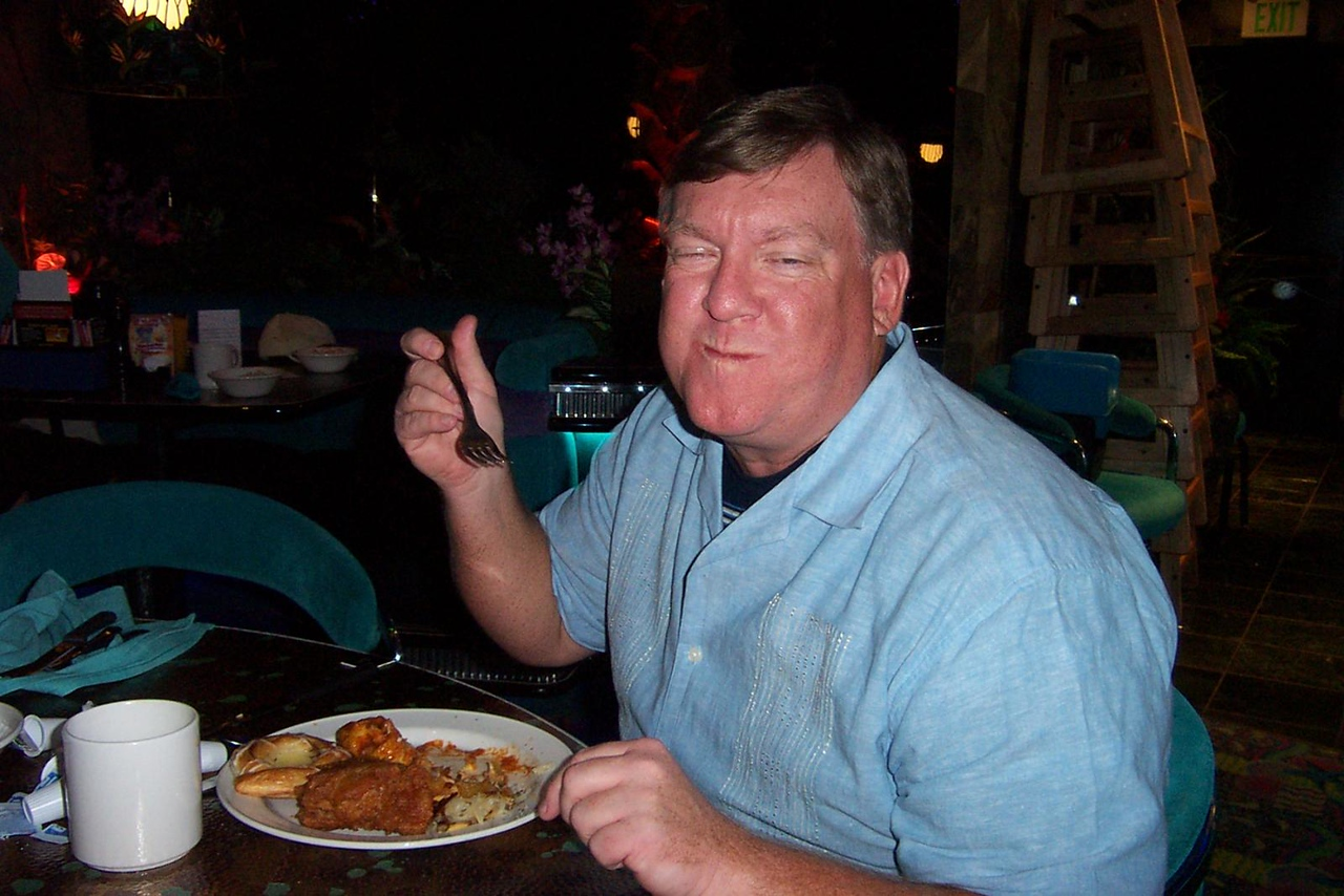 My brother Mark at the Peppermill's Island Buffet. Is this the moment he was unknowingly picking up that stomach bug?!?<br /> [Reno]