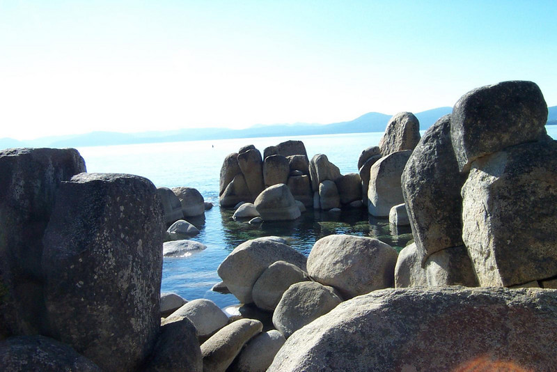 The rocks on the shore are almost like sculptures!<br /> [Lake Tahoe]