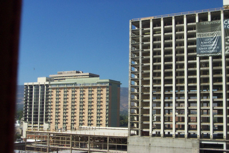 Two former favorite hotel/casinos, now turned into condos! The Comstock (left) and Flamingo (under construction on the right).<br /> [Reno]
