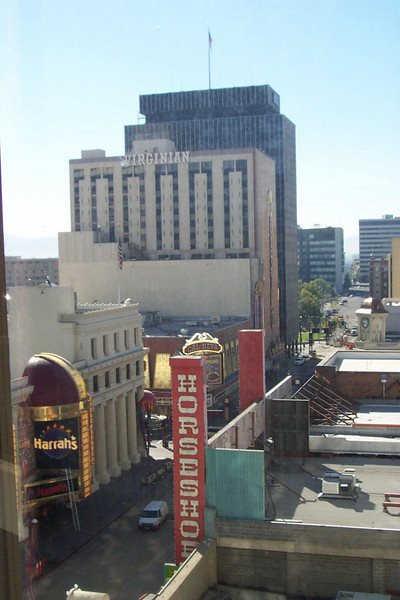 Welcome to the biggest little city in the world!  This is looking down Virginia Street, as seen from Lou's room at Fitzgerald's.<br /> [Reno]