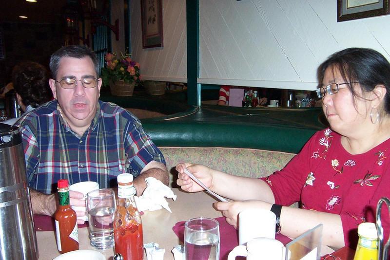 Dave and Kay at Molly's Garden coffeeshop at Fitzgerald's.  I swear, Dave had had NO alcohol yet! :-)<br /> [Reno]