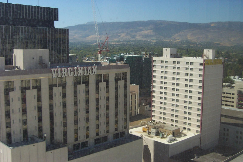 This is the view from Dave's room at Harrah's.  He spent two nights at Harrah's, and then moved to the Cal-Neva tower seen at right.  It wasn't nearly as nice at Harrah's, but it was cheap!  :-)<br /> [Reno]