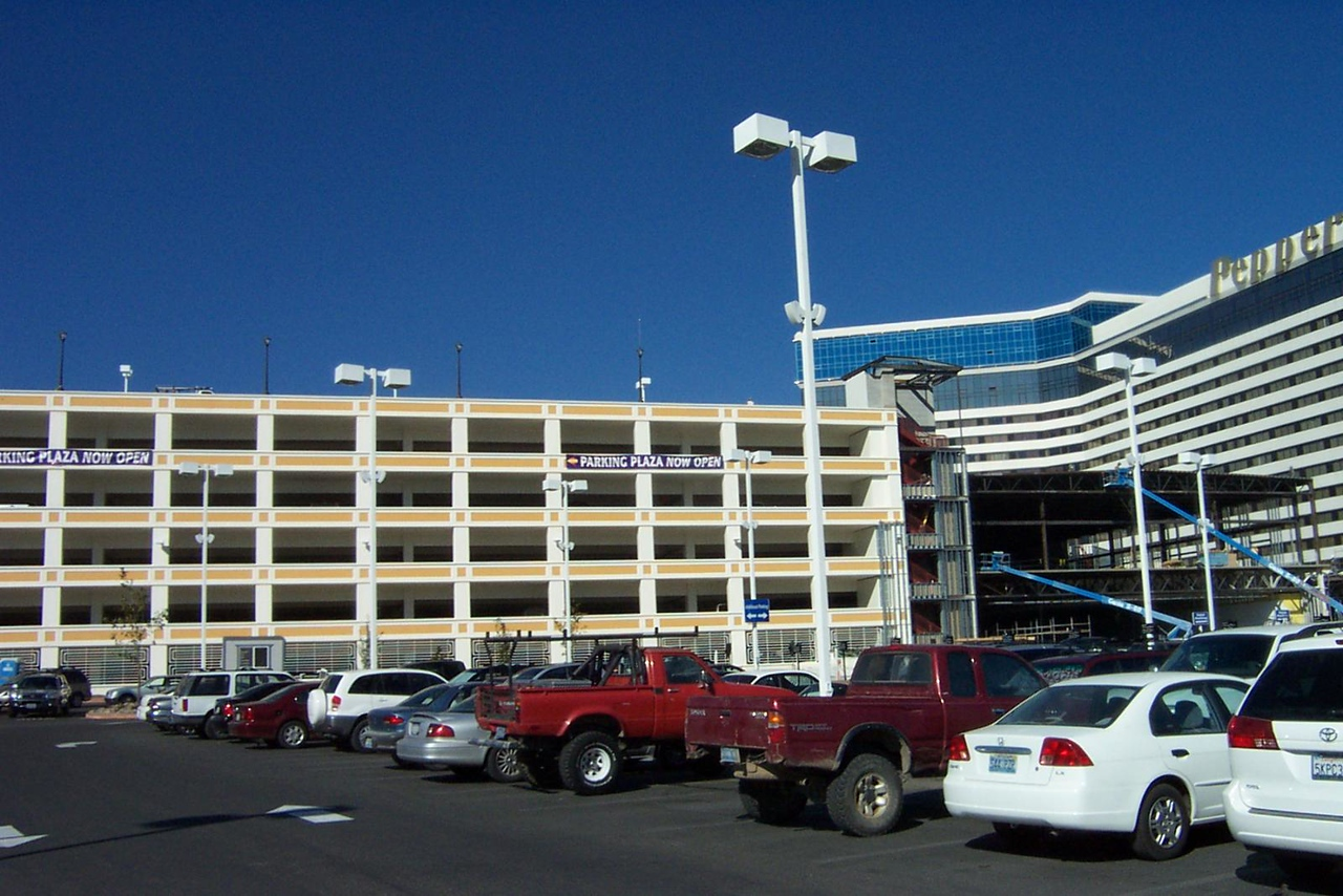 The Peppermill's brand-new parking garage (at left) was just about to open, but the entrance was still blocked off by construction equipment the day we were there.<br /> [Reno]